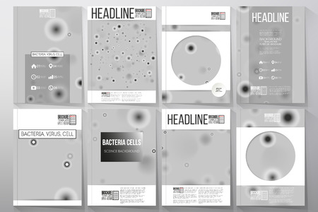 bioengineering: Set of business templates for brochure, flyer or booklet. Molecular research, illustration of cells in gray, science vector background. Illustration