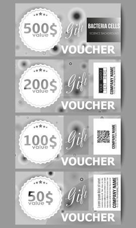 germ free: Set of modern gift voucher templates. Molecular research, illustration of cells in gray, science vector background.