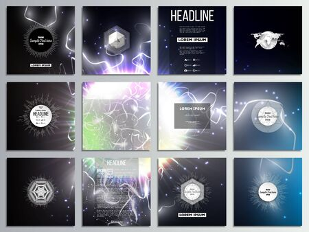 lighting effect: Set of 12 creative cards, square brochure template design. Electric lighting effect. Magic vector background with lightning. Illustration