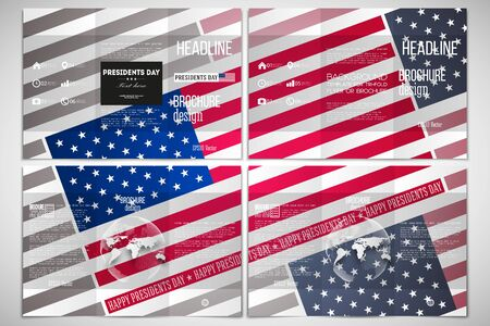 both sides: Vector set of tri-fold brochure design template on both sides with world globe element. Presidents day background with american flag, abstract vector illustration.