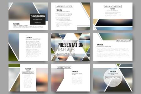 sjabloon: Reeks van 9 vector sjablonen voor presentatiedia's. Abstract veelkleurige achtergrond wazig natuur landschappen, geometrische vector, driehoekige stijl illustratie. Stock Illustratie