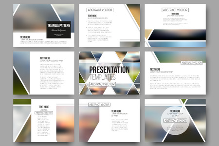 Set of 9 vector templates for presentation slides. Abstract multicolored background of blurred nature landscapes, geometric vector, triangular style illustration.