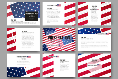 patriotic usa: Set of 9 vector templates for presentation slides. Presidents day background with american flag, abstract vector illustration