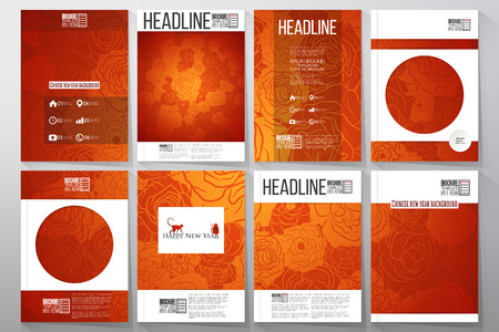 set of business templates for brochure flyer or booklet chinese new year background - Chinese New Year 1974