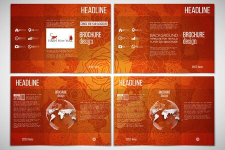 chinese new year element: Vector set of tri-fold brochure design template on both sides with world globe element. Chinese new year background. Floral design with red monkeys, vector illustration