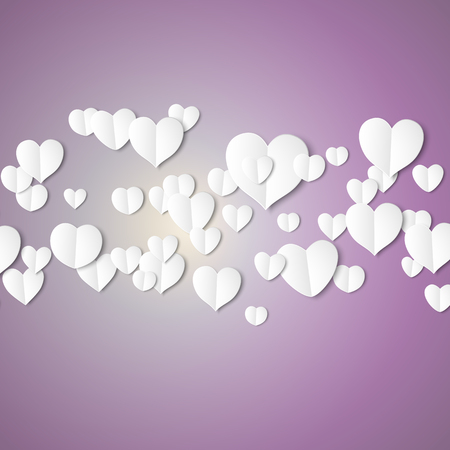 happy couple: White paper hearts, Valentines day card on violet background, vector illustration.