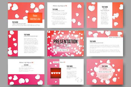 Reeks van 9 vector sjablonen voor presentatiedia's. White paper harten, rode vector achtergrond, Valentijnsdag decoratie. Vector Illustratie