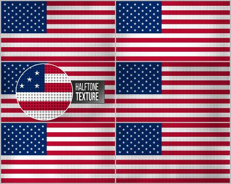 banderas americanas: Set of american flags in dirty retro style with abstract halftone effect.