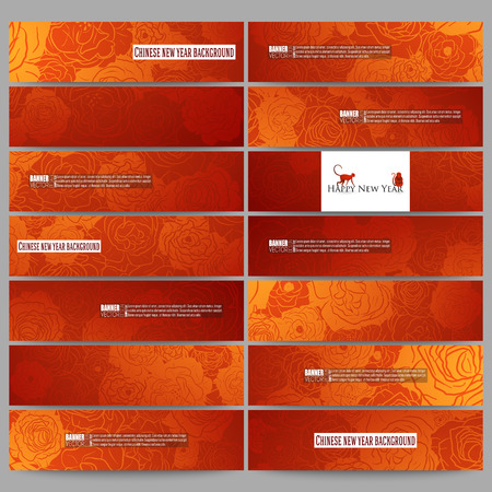 china art: Set of modern vector banners. Chinese new year background. Floral design with red monkeys, vector illustration