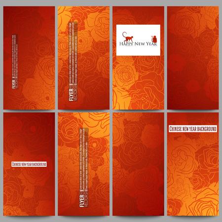 Conjunto de volantes de vectores modernos. Fondo chino nuevo año. Diseño floral con los monos rojos, ilustración vectorial
