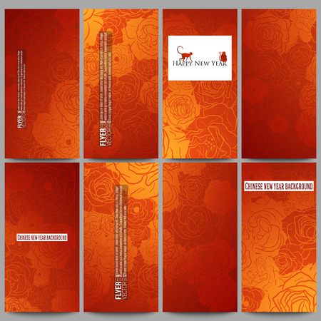 flores chinas: Conjunto de volantes de vectores modernos. Fondo chino nuevo año. Diseño floral con los monos rojos, ilustración vectorial