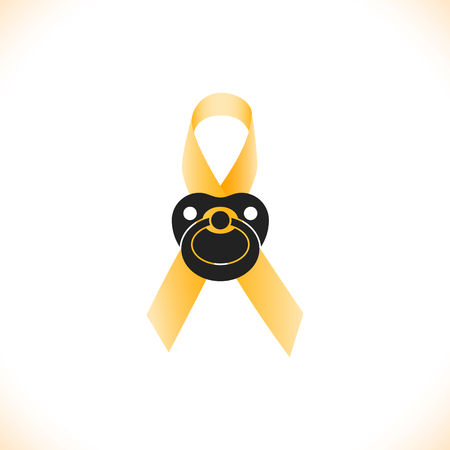 childhood cancer: Icon of ribbon with baby nipple as symbol of childhood cancer awareness, vector illustration. Illustration