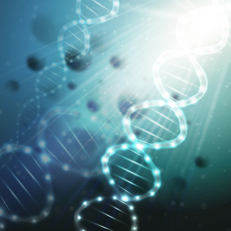 life science: DNA molecule structure on a green background. Science vector background.
