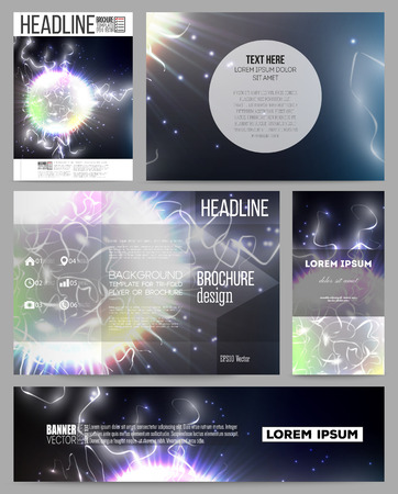 element template: Set of business templates for presentation, brochure, flyer or booklet. Electric lighting effect. Magic vector background with lightning. Illustration