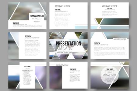 プレゼンテーション ・ スライドのための 9 のベクトル テンプレートをセットします。ぼやけて自然風景、幾何学的ベクトル、三角形のスタイルの  イラスト・ベクター素材
