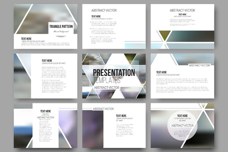 banner design: Set of 9 vector templates for presentation slides. Abstract multicolored background of blurred nature landscapes, geometric vector, triangular style illustration.