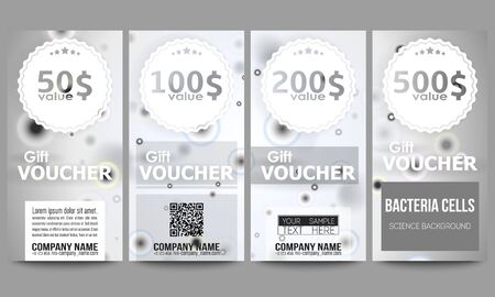 Set of modern gift voucher templates. Molecular research, illustration of cells in gray, science vector background.