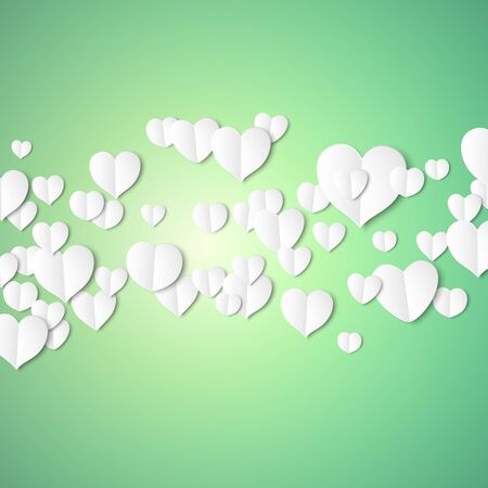 emerald: White paper hearts, Valentines day card on emerald background, vector illustration.