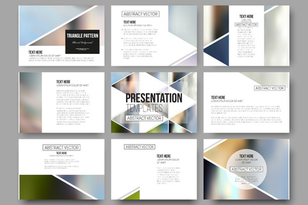 graphic presentation: Set of 9 vector templates for presentation slides. Abstract multicolored background of blurred nature landscapes, geometric vector, triangular style illustration.