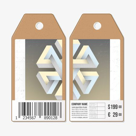unreal: Vector tags design on both sides, cardboard sale labels with barcode. Unreal impossible geometric figure, abstract pattern.