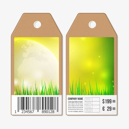 both sides: Vector tags design on both sides, cardboard sale labels with barcode. Spring background with green grass. Illustration