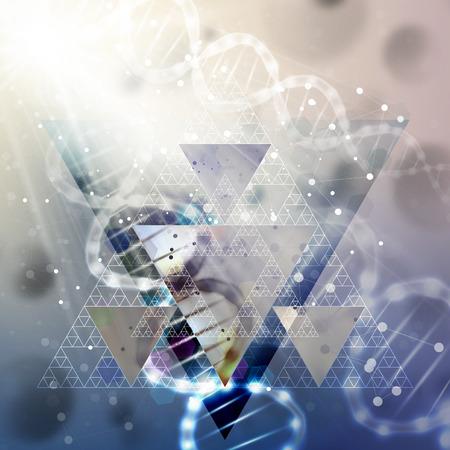 DNA-molecuul structuur op lichtblauwe achtergrond. Science vector achtergrond.