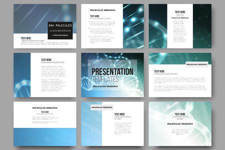 プレゼンテーション ・ スライドのための 9 のベクトル テンプレートをセットします。青色の背景に DNA 分子構造。科学のベクトルの背景。  イラスト・ベクター素材