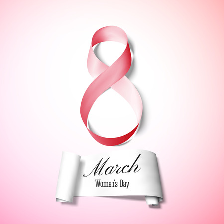 shiny day: Greeting card for 8 March with banner and symbol of red ribbon. International Womens Day. Vector illustration.
