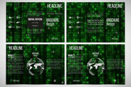 sides: Vector set of tri-fold brochure design template on both sides with world globe element. Virtual reality, abstract technology background with green symbols, vector illustration.