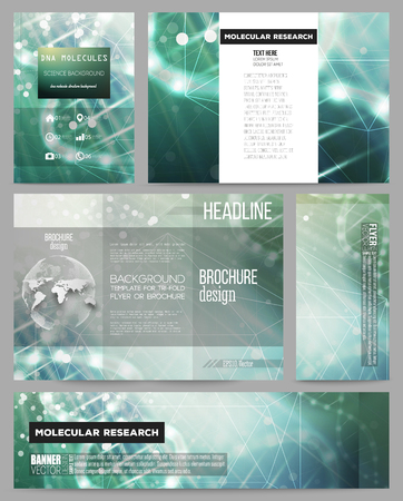 geen: Set of business templates for presentation, brochure, flyer or booklet. DNA molecule structure on dark geen background. Science vector background.