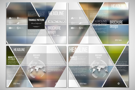sides: Vector set of tri-fold brochure design template on both sides with world globe element. Abstract multicolored background of blurred nature landscapes, geometric vector, triangular style illustration.
