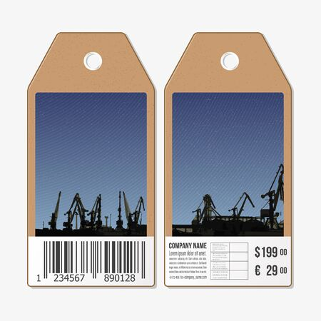 shipyard: Vector tags design on both sides, cardboard sale labels with barcode. Shipyard and city landscape.