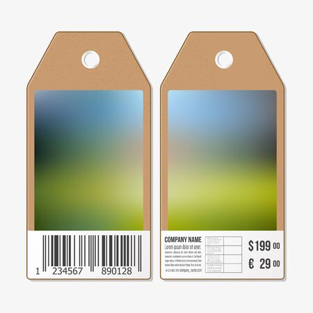 both sides: Vector tags design on both sides, cardboard sale labels with barcode. Blurred background. Abstract vector illustration.