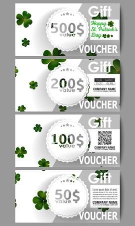 clovers: Set of modern gift voucher templates. St Patricks day vector background, green clovers on white. Illustration