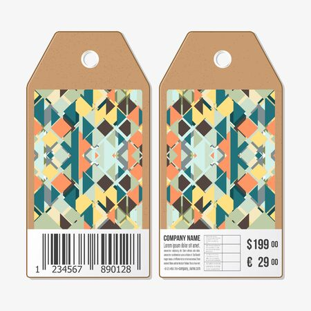both sides: Vector tags design on both sides, cardboard sale labels with barcode. Material Design. Colored vector background.