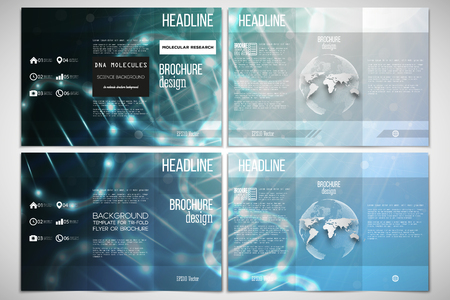 both sides: Vector set of tri-fold brochure design template on both sides with world globe element.
