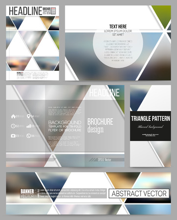 business card design: Set of business templates for presentation, brochure, flyer or booklet. Abstract multicolored background of blurred nature landscapes, geometric vector, triangular style illustration.