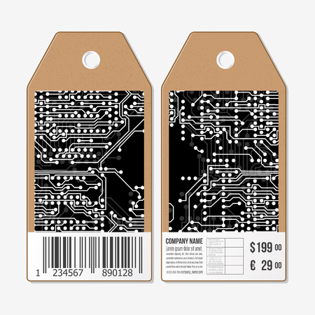 circuit sale: Vector tags design on both sides, cardboard sale labels with barcode. Microchip background, electronic circuit.