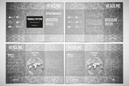sides: Vector set of tri-fold brochure design template on both sides with world globe element