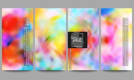 holi: Set of modern vector flyers. Colorful background, Holi celebration, vector illustration