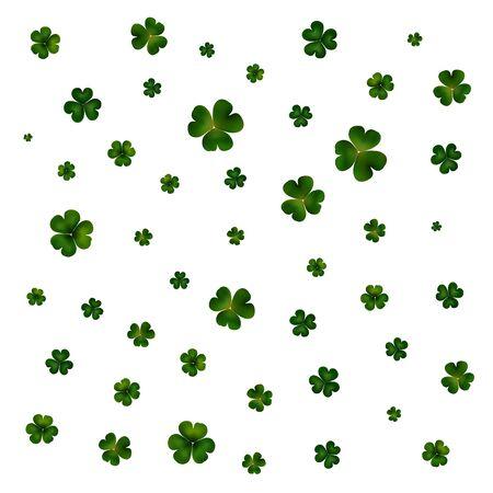 white day: St Patricks day vector background, green clovers on white Illustration