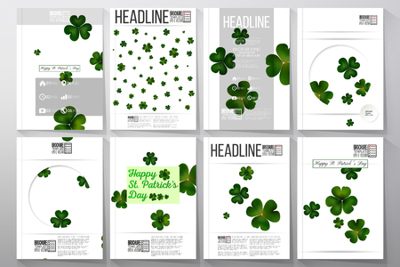 clovers: Set of business templates for brochure, flyer or booklet. St Patricks day vector background, green clovers on white.