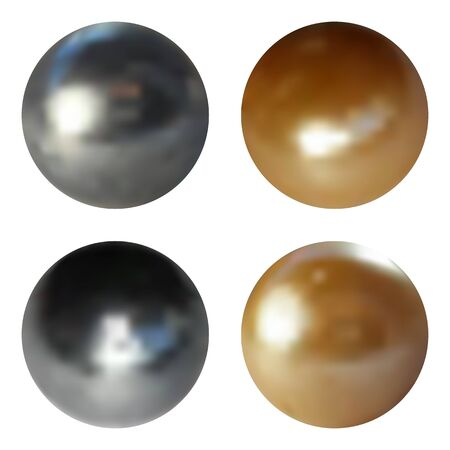 soft colors: Metallic chrome spheres set on white background, vector illustration.