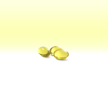 cod liver: Fish oil, pills isolated on yellow background, vector illustration. Illustration