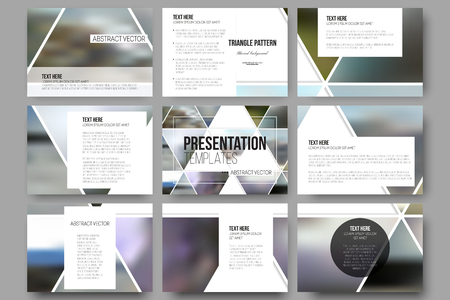 print template: Set of 9 vector templates for presentation slides.