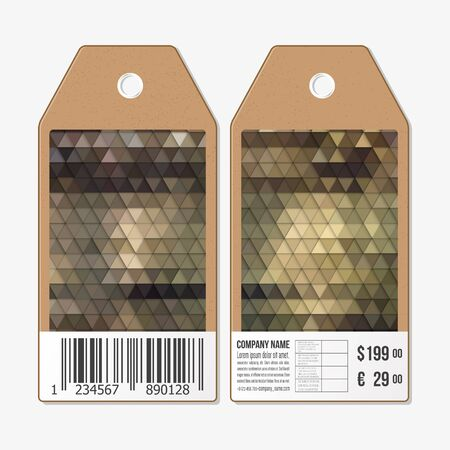 both sides: Vector tags design on both sides, cardboard sale labels with barcode. Illustration