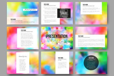 slides: Set of 9 vector templates for presentation slides.