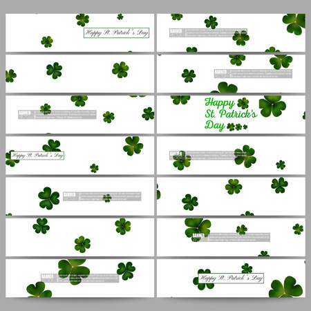 clovers: Set of modern vector banners. St Patricks day vector background, green clovers on white