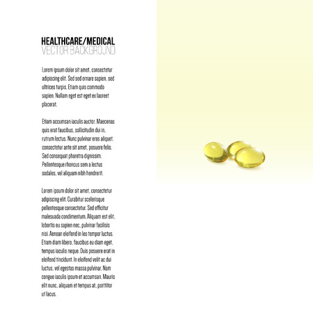 cod liver: Fish oil, pills isolated on yellow background, vector background for brochure, flyer or banner.
