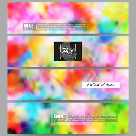 pichkari: Set of modern vector banners. Colorful background, Holi celebration, vector illustration Illustration